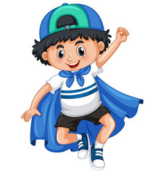 happy boy playing hero vector image