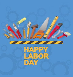 happy labor day card isometric tool icon vector image