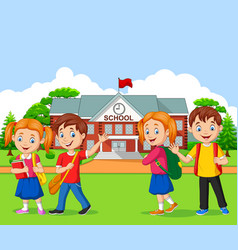 happy school children in front school vector image