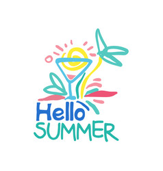 Hello summer logo template label for summer vector