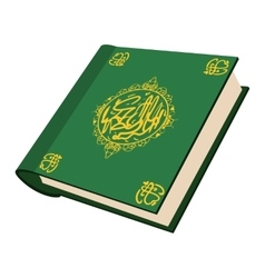 Holy quran cartoon icon vector