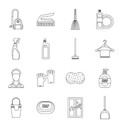 House cleaning icons set outline style vector