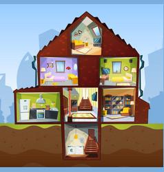 house cross section room indoor bedroom basement vector image