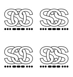 Icon sign sos symbol interlaced letters s o s sign vector