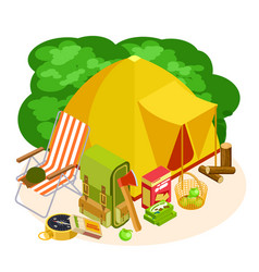 isometric camping equipment set isolated on vector image