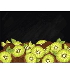 Kiwi fruit composition on chalkboard vector
