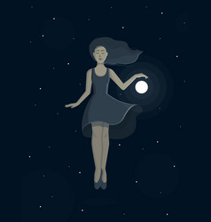 Levitating girl with a ball vector