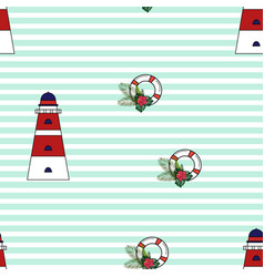 lighthouse tropical leaves and lifebuoy pattern vector image