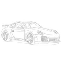 Line art sport car black and white vector