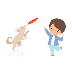 Little boy throwing plate to his dog isolated on vector