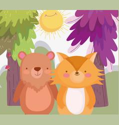 Little teddy bear and fox cartoon character forest vector