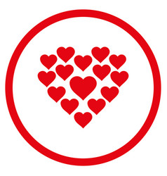 love hearts shape rounded icon vector image