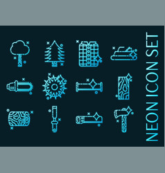 lumberjack set icons blue glowing neon style vector image