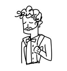 Man in tuxedo closing eyes sketch vector