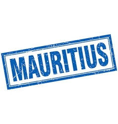 Mauritius blue square grunge stamp on white vector image