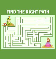 Maze game find a frog princes way to princess vector