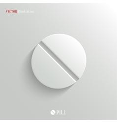 Medicine pill icon - white app button vector image