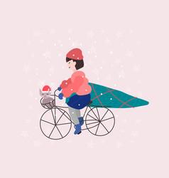Merry christmas tree girl winter season postcard vector
