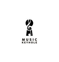 music note treble clef with keyhole logo design vector image