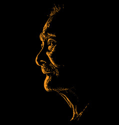 Old asian woman portrait in contrast backlight vector