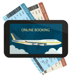 online ordering and booking air tickets vector image