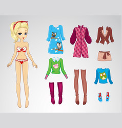 Paper Retro Autum Blonde Doll vector