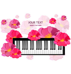 Piano musical card with flowers vector