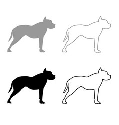 pit bull terrier icon outline set grey black color vector image