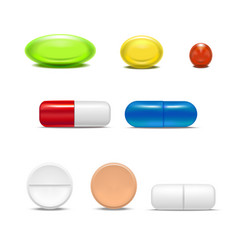 realistic detailed pills capsules and drugs set vector image vector image
