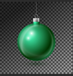 Realistic green christmas ball with silver ribbon vector