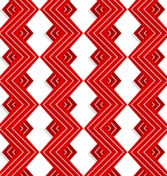 Red embossed zigzag with white lines vector