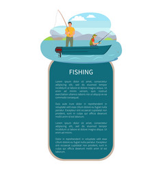 river or lake fishing on motor boat poster vector image