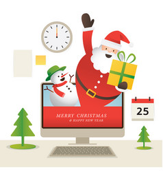 santa claus and snowman popping out from computer vector image