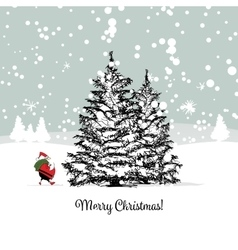 Santa Claus in winter forest Christmas card vector image vector image
