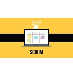 scrum methodology with laptop and sticky notes vector image