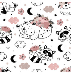 Seamless pattern with cute floral animals vector
