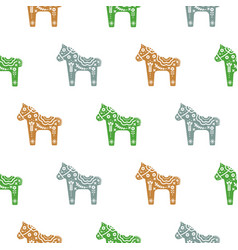Seamless pattern with floral decorative horse pony vector