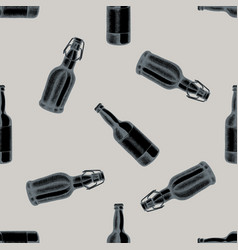 seamless pattern with hand drawn stylized bottles vector image