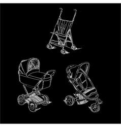 Set childen prams on black background vector image