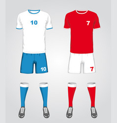 set different soccer uniform vector image