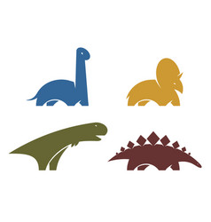 set dinosaur logo design element jurassic park vector image