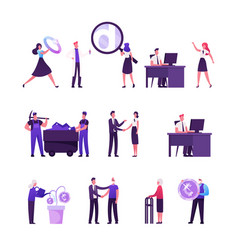 set male and female characters working in vector image