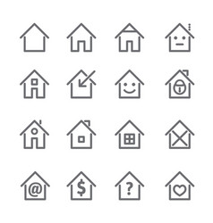 Set of grey house and home icon vector