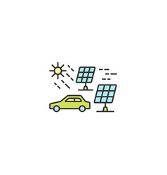 solar energy for electric car icon outline linear vector image