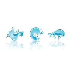 splashing waves and water third set icons vector image