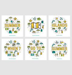 summer round banners - trip and vacation concepts vector image