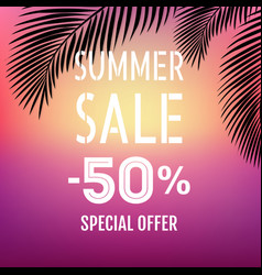 summer sale banner with palm leaf isolated vector image