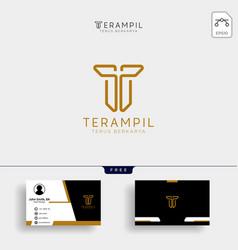 T letter logo gold letter design with golden vector