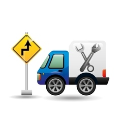 truck assitance with road sign vector image