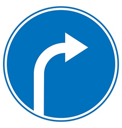 Turn right ahead sign vector image